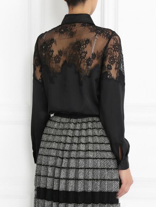 Блуза из шелка с кружевной отделкой - Модель Верх-Низ1