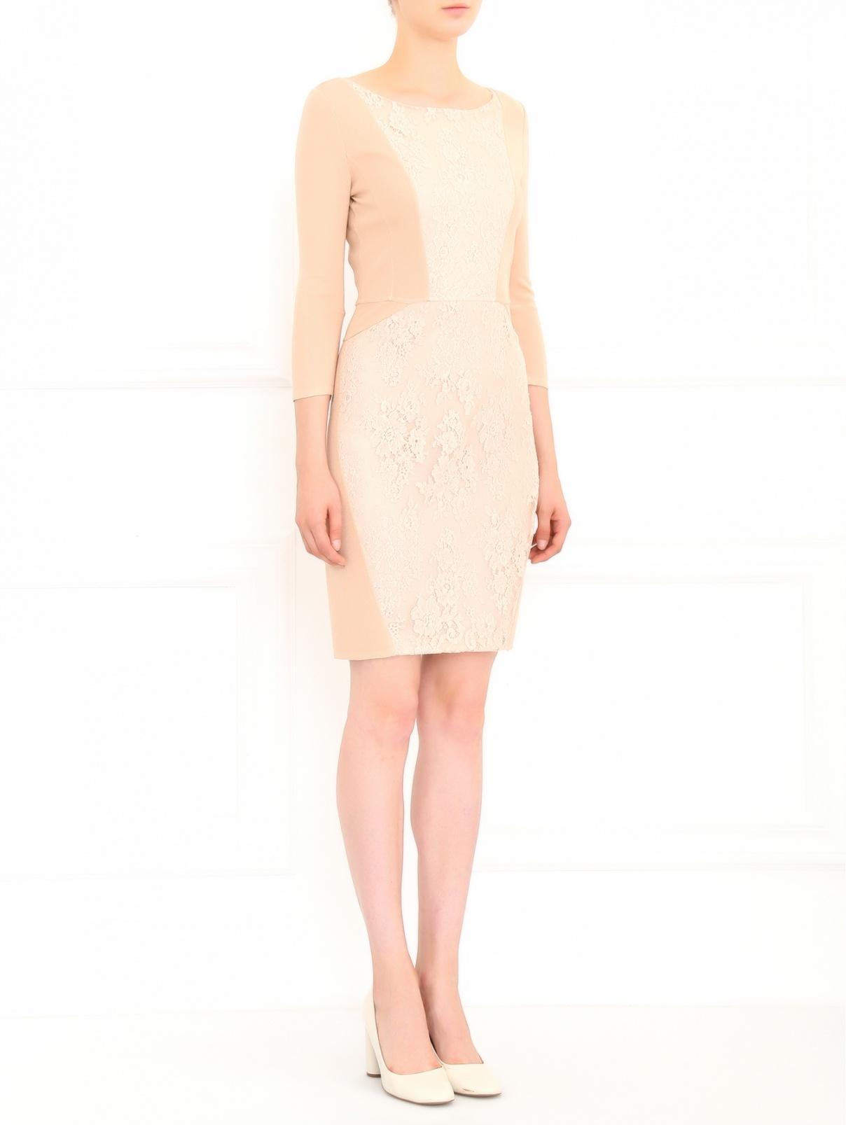 Платье с вставками из кружева LIL Paris  –  Модель Общий вид  – Цвет:  Бежевый