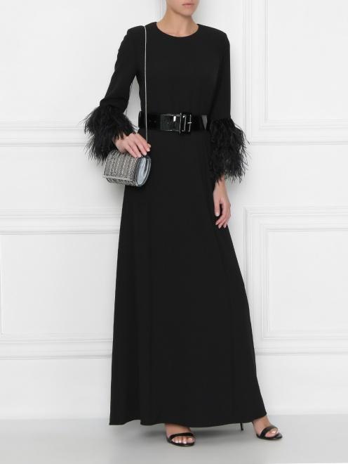 Платье макси декорированное перьями  - Общий вид