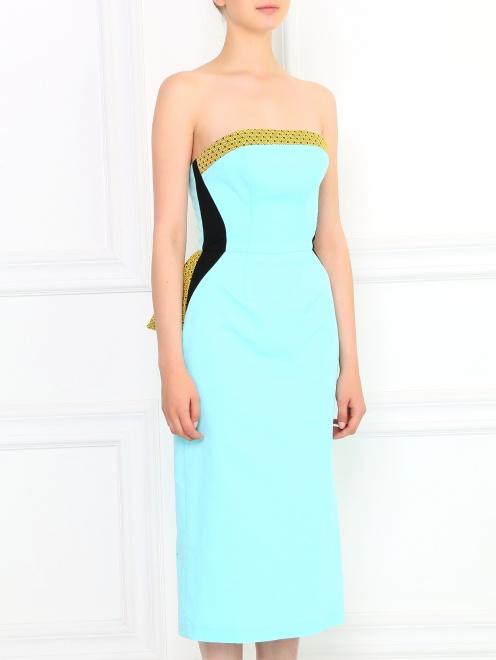 Платье-футляр без бретелей с драпировкой - Модель Верх-Низ