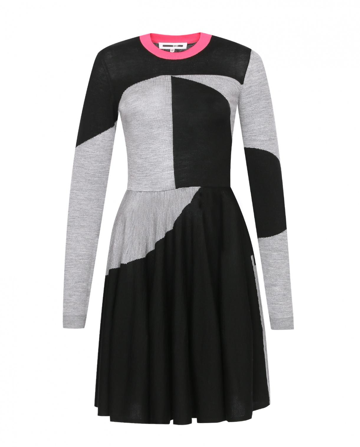Платье из шерсти с узором и контрастной отделкой Mcq  –  Общий вид