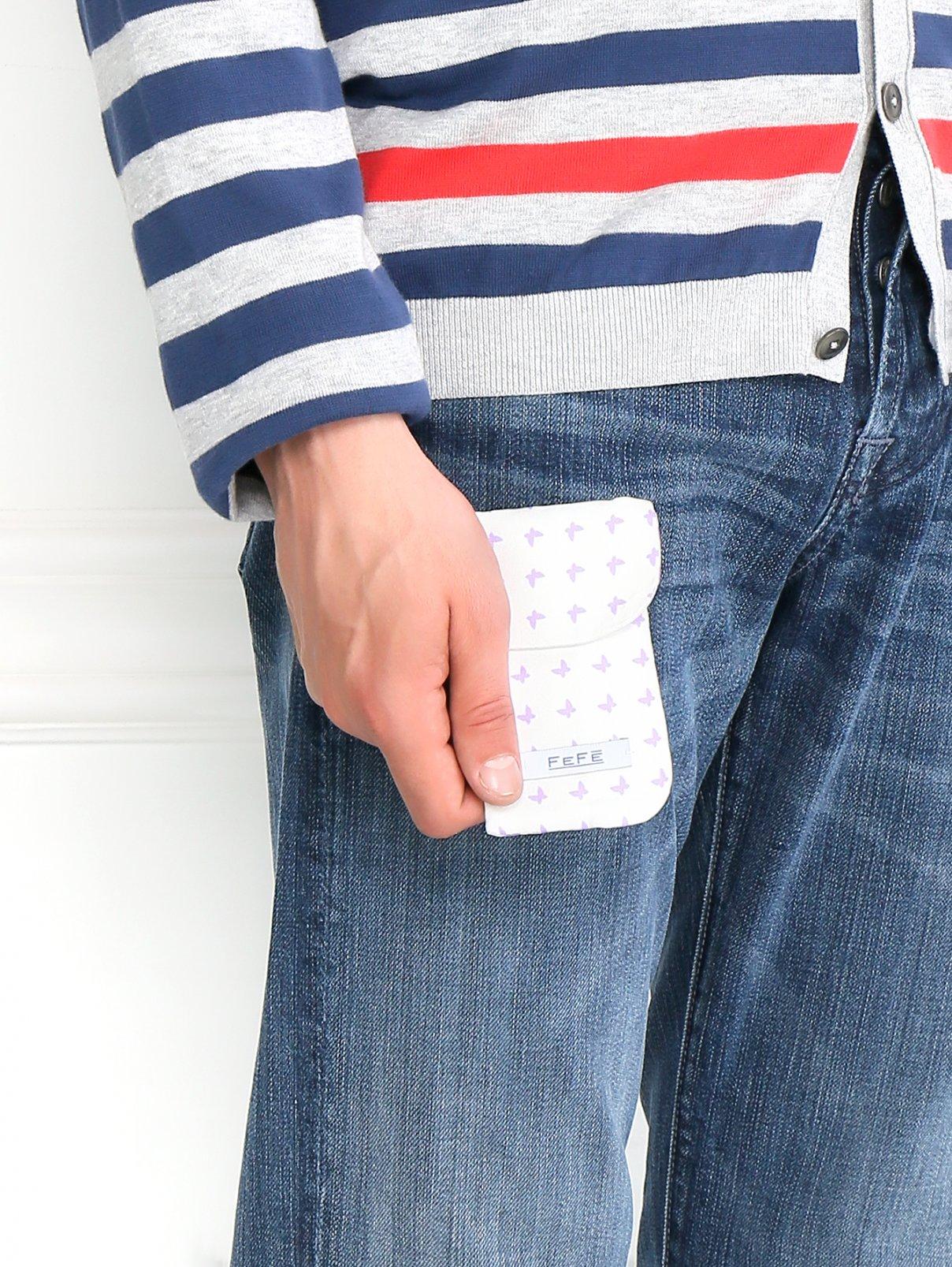 Чехол для IPhone из шелка с узором Fefe  –  Модель Общий вид  – Цвет:  Белый