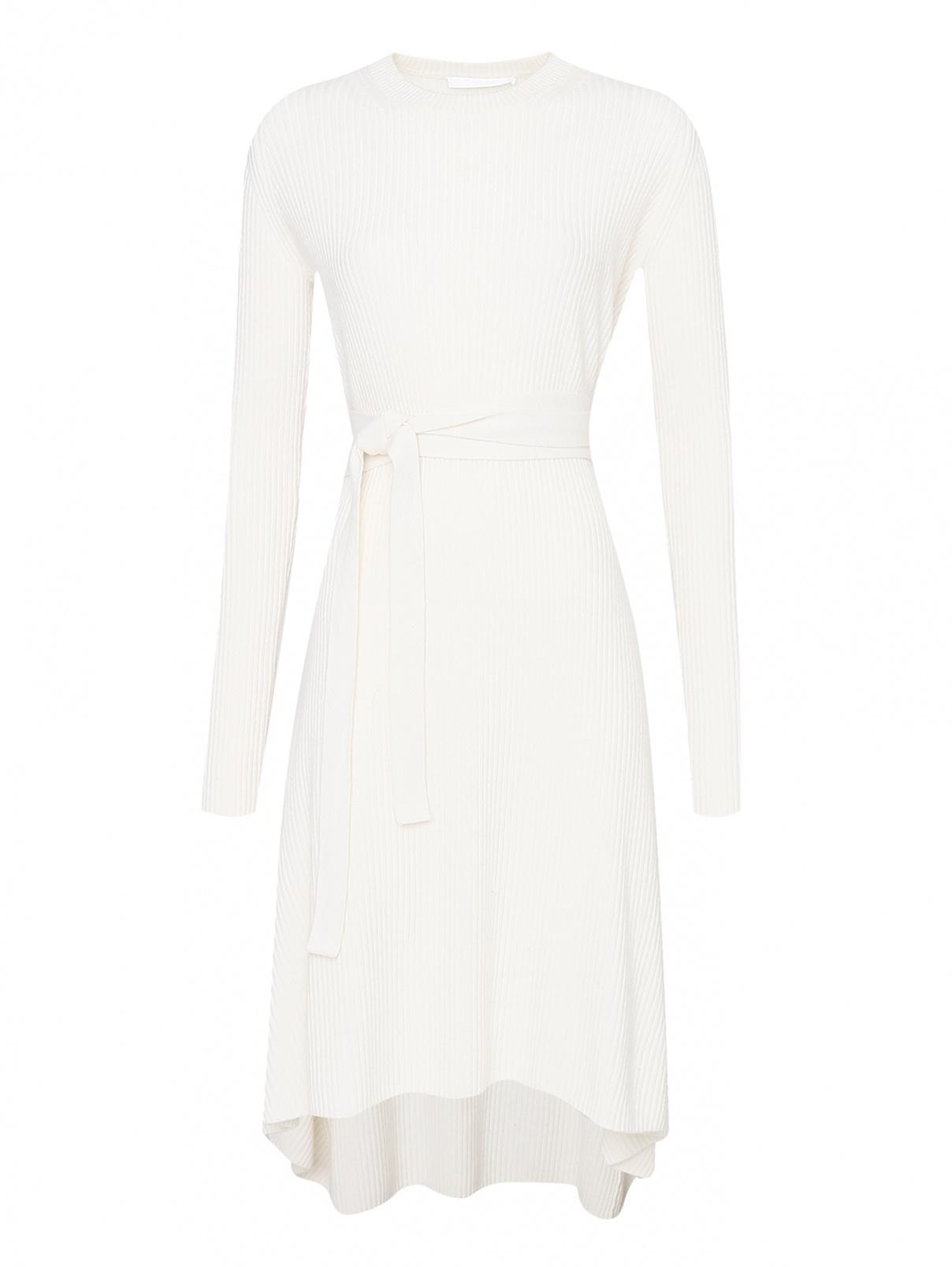 Платье из шерсти и кашемира с поясом Helmut Lang  –  Общий вид  – Цвет:  Белый