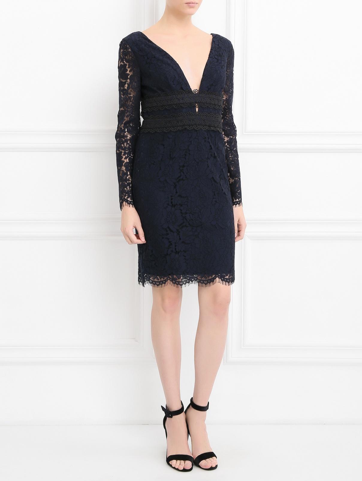 Платье-футляр с кружевным узором Diane von Furstenberg  –  Модель Общий вид  – Цвет:  Синий