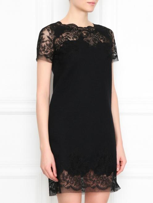Платье из шерсти ,шелка и кашемира с кружевом - МодельВерхНиз