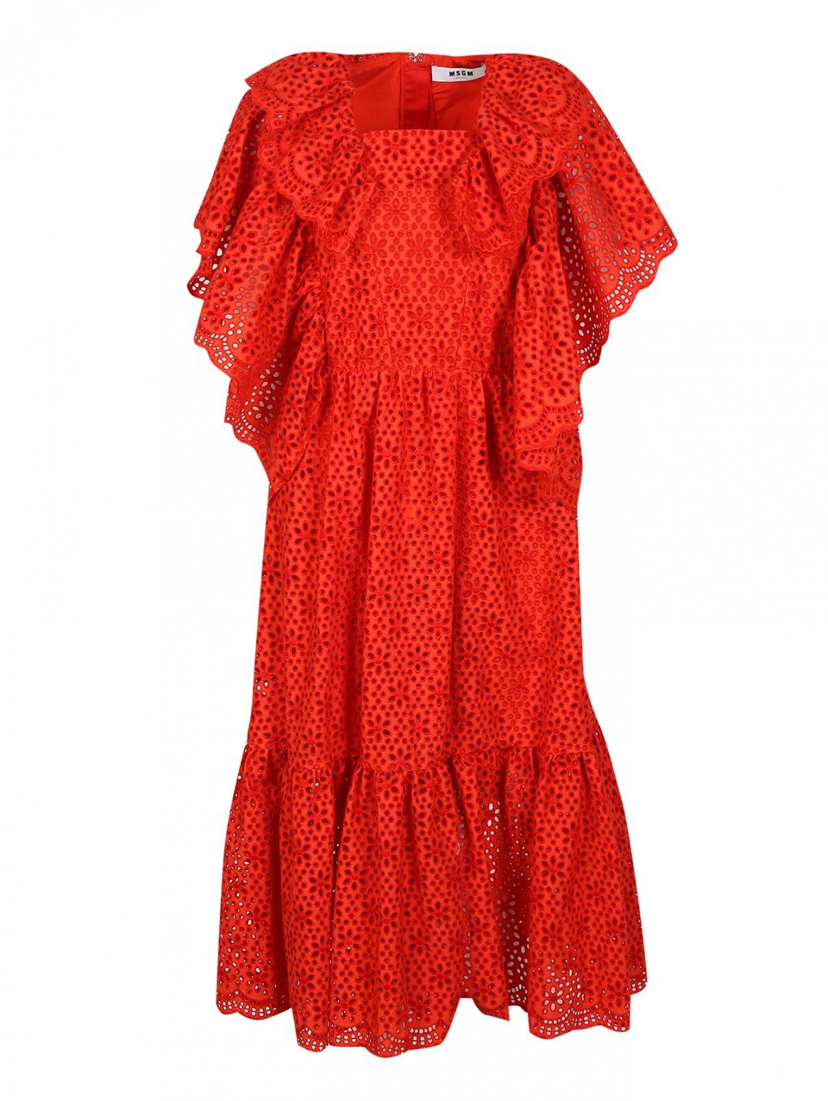 Платье- миди из хлопка с перфорацией и воланами MSGM  –  Общий вид  – Цвет:  Красный