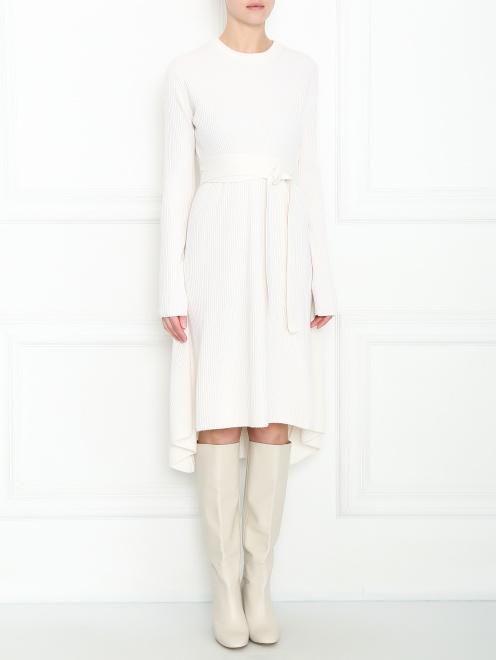 Платье из шерсти и кашемира с поясом  - МодельВерхНиз