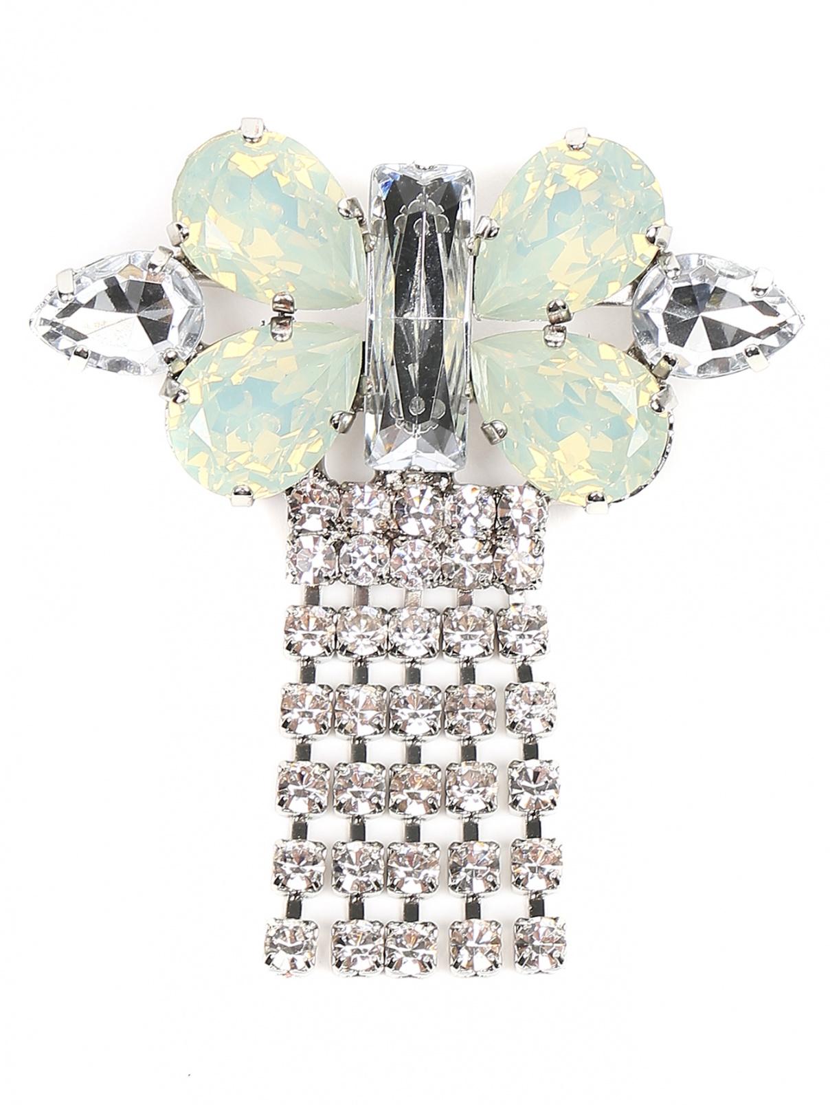 Брошь из металла и кристаллов Persona by Marina Rinaldi  –  Общий вид  – Цвет:  Зеленый
