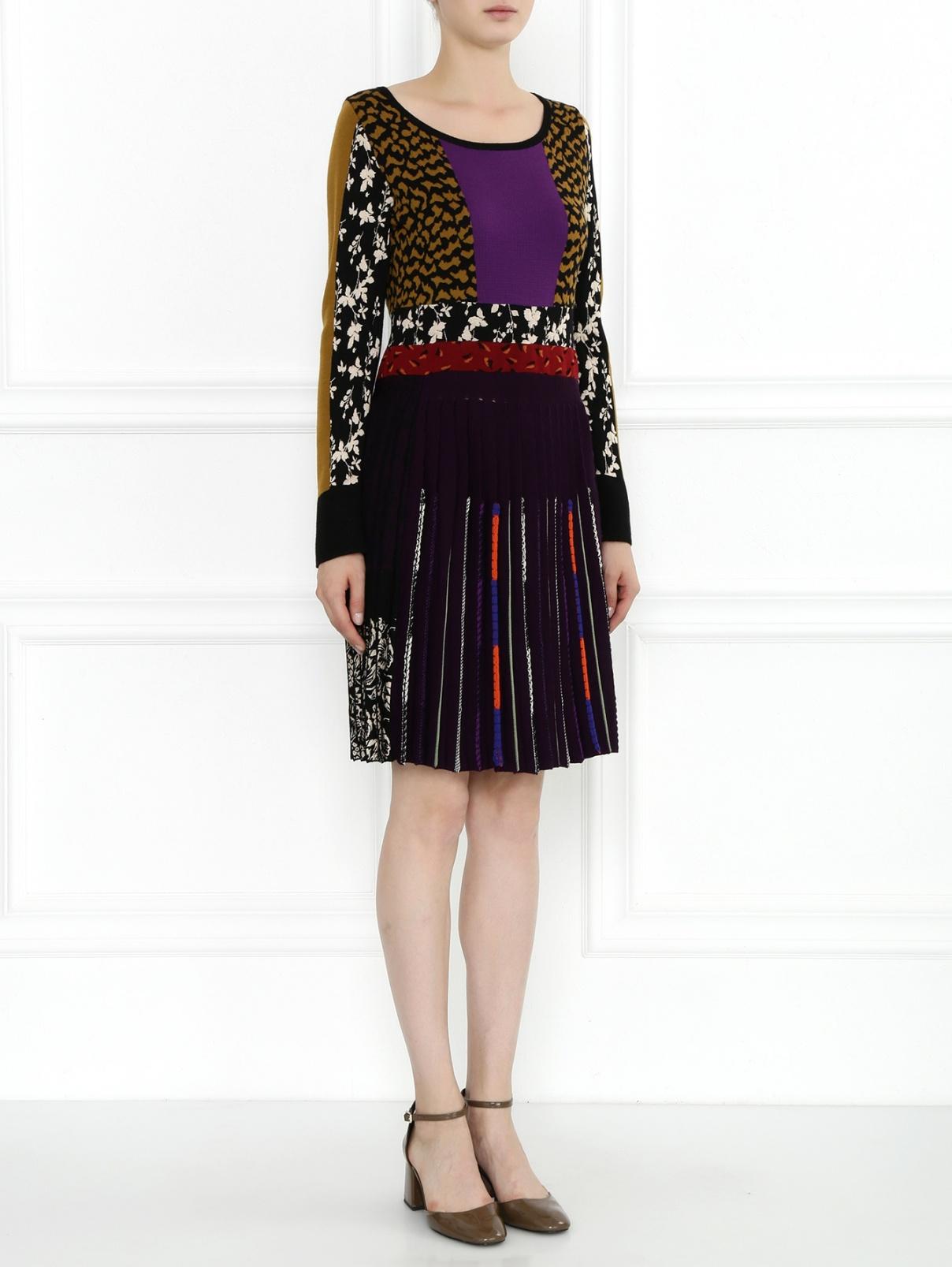 Платье-мини из трикотажа с узором и плиссированным подолом Etro  –  Модель Общий вид