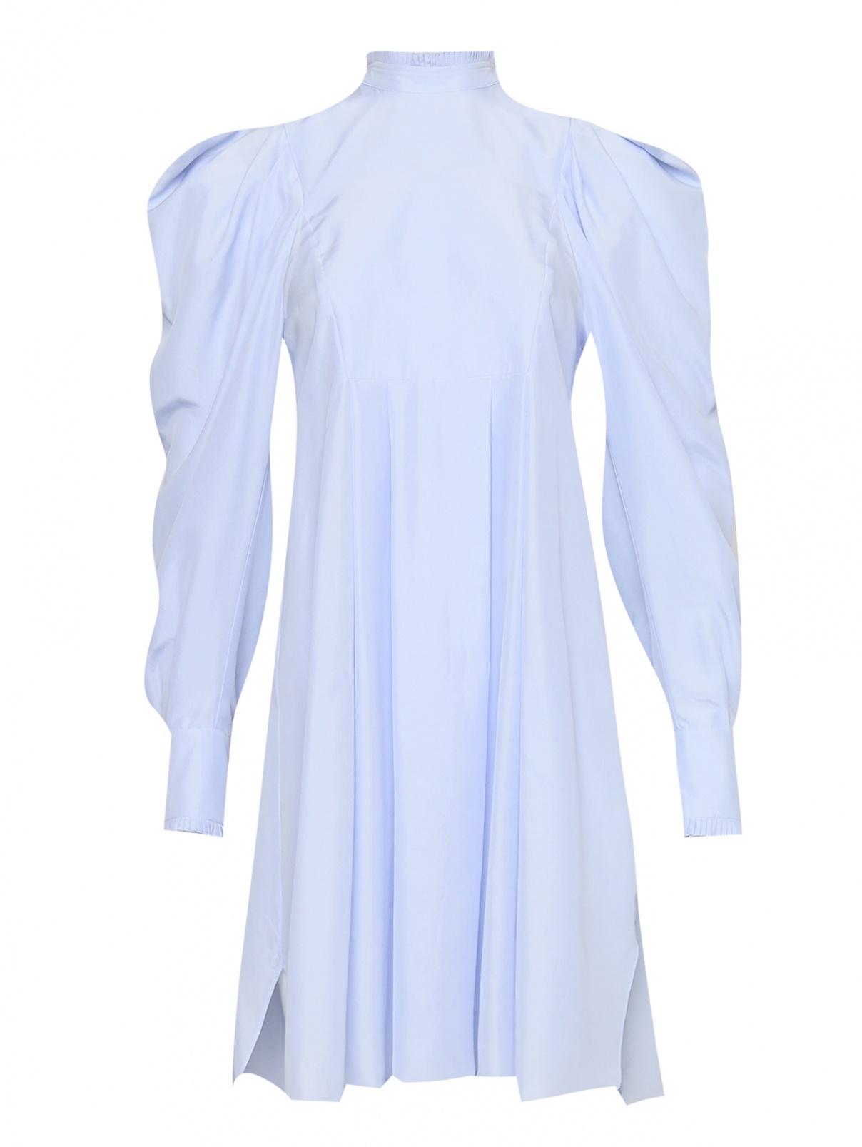 Платье из шелка с объемными рукавами Sportmax  –  Общий вид  – Цвет:  Синий