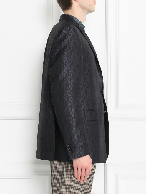 Пиджак однобортный из шелка с узором - МодельВерхНиз2