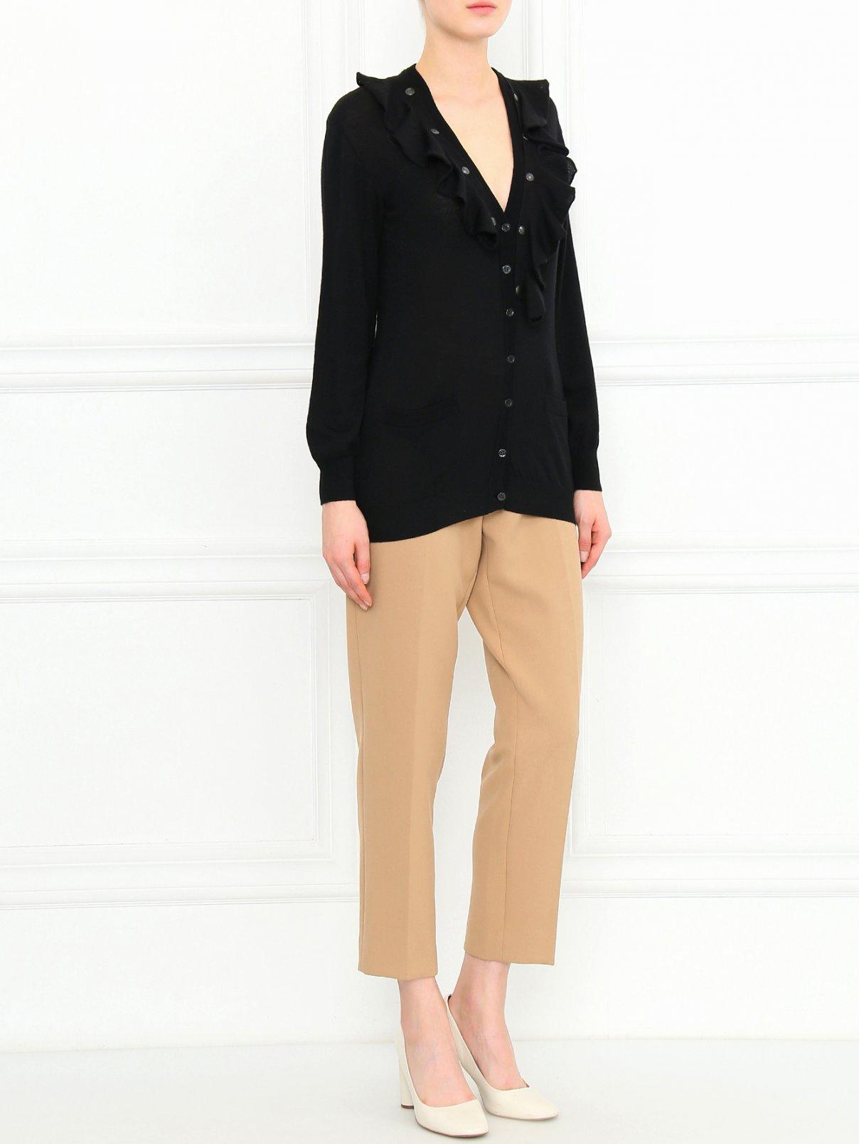 Кардиган из шерсти с отстегивающейся драпировкой Moschino Cheap&Chic  –  Модель Общий вид