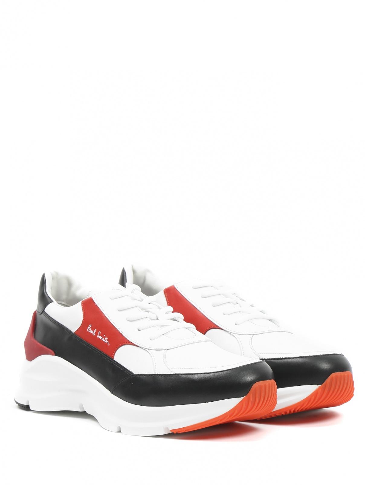 Кроссовки из кожи с контрастными вставками Paul Smith  –  Общий вид  – Цвет:  Белый