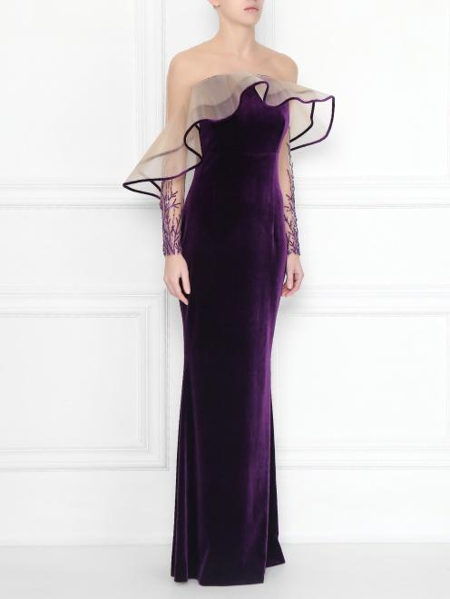 Платье бархатное с вышивкой бисером и пайетками  - МодельВерхНиз
