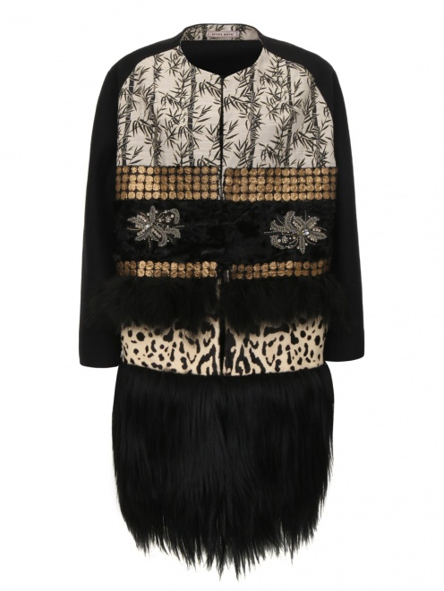Пальто из шерсти со вставкой из меха и кожи - Общий вид