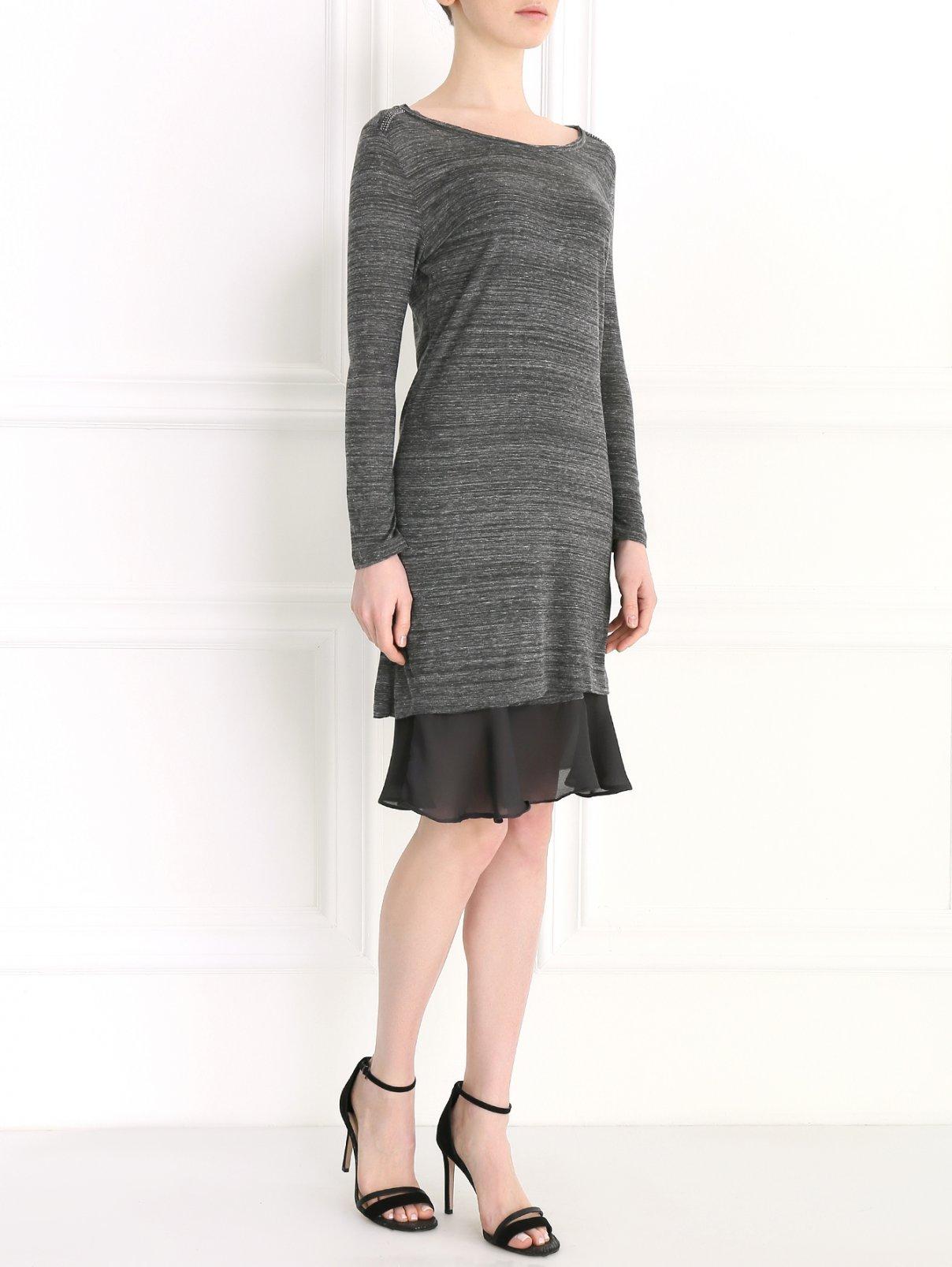 Трикотажное платье-мини с контрастной отделкой Rich & Royal  –  Модель Общий вид