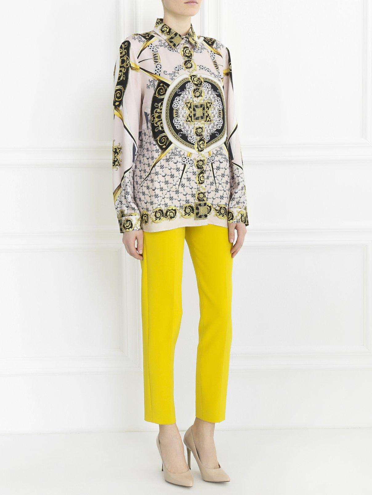 Укороченные брюки прямого кроя Versace Collection  –  Модель Общий вид  – Цвет:  Желтый