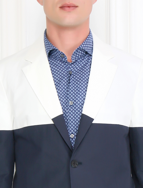 Однобортный пиджак из хлопка и льна - Модель Общий вид1