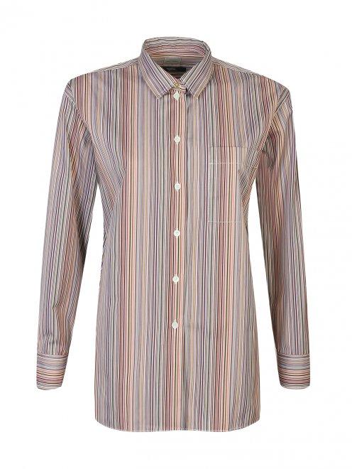 Блуза из хлопка в полоску - Общий вид