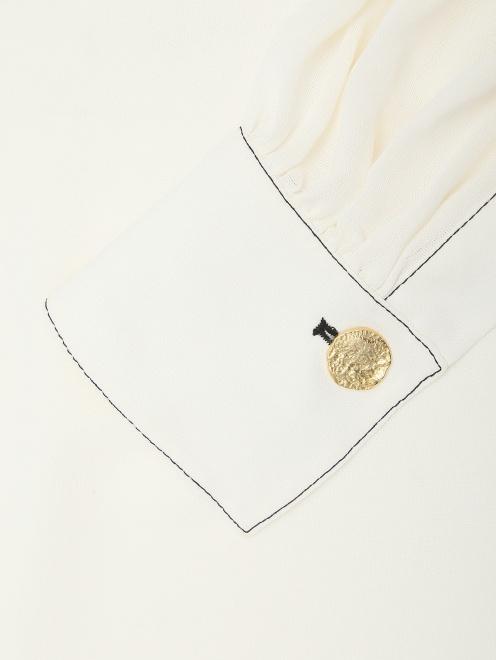 Блуза из шелка с контрастной отстрочкой  - Деталь1