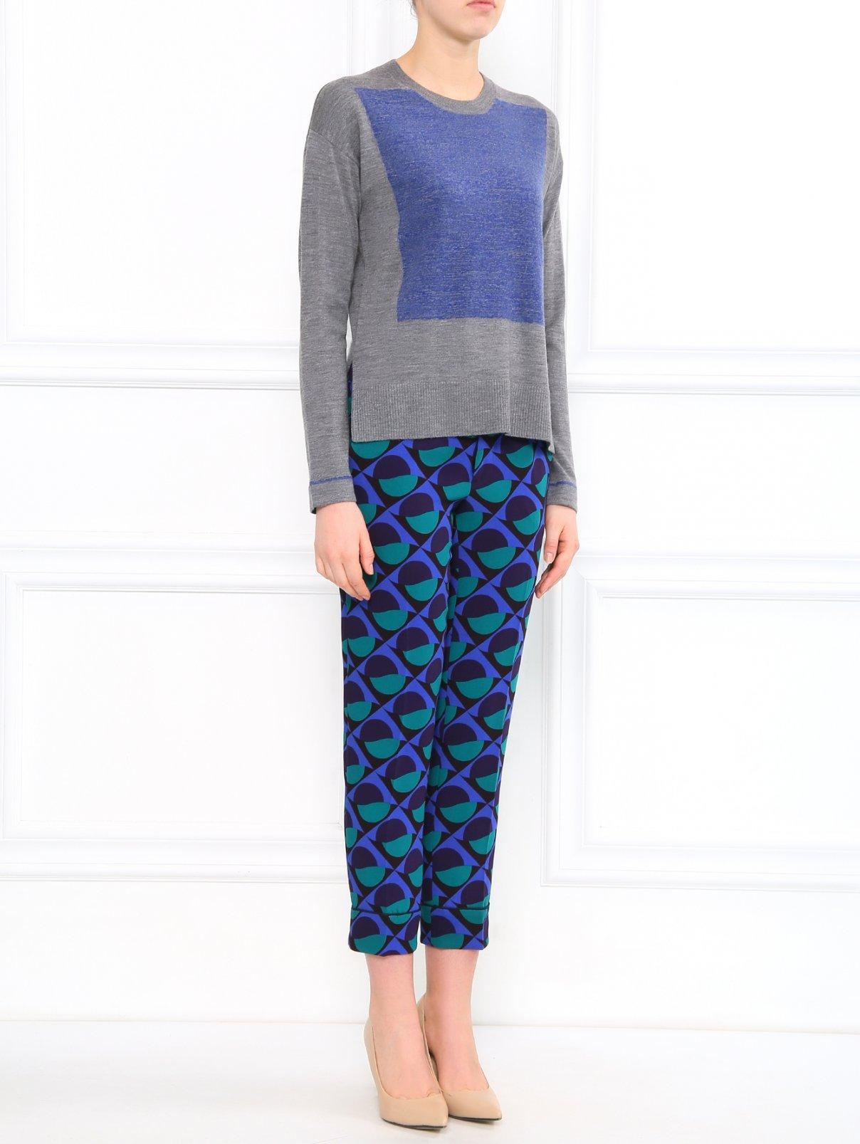 Укороченные брюки с геометричным узором Marc by Marc Jacobs  –  Модель Общий вид  – Цвет:  Узор