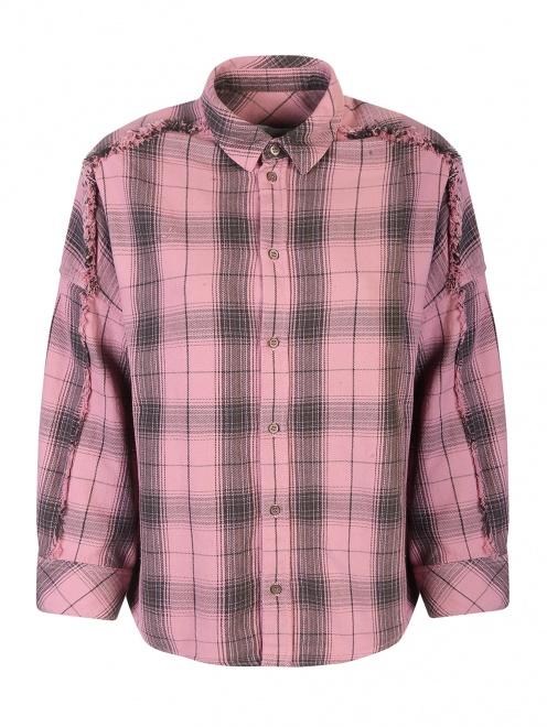 Рубашка хлопковая с узором клетка - Общий вид