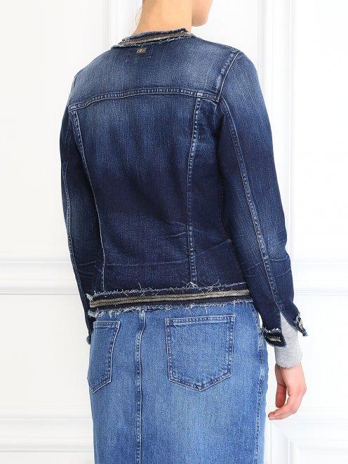 Джинсовая куртка декорированная стеклярусом - Модель Верх-Низ1