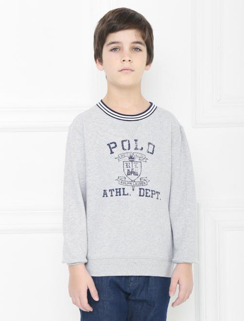 Хлопковый свитшот с принтом - МодельВерхНиз