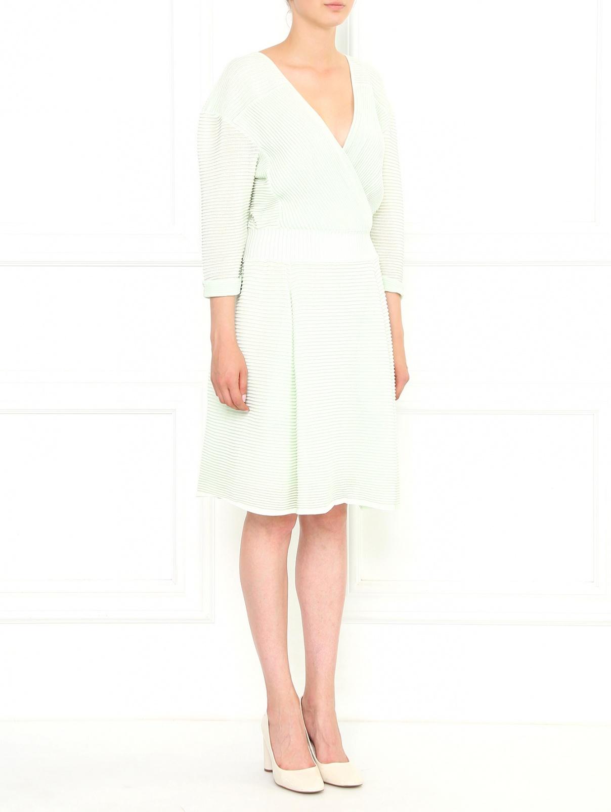 Платье из хлопка с запахом Maison Ullens  –  Модель Общий вид  – Цвет:  Зеленый