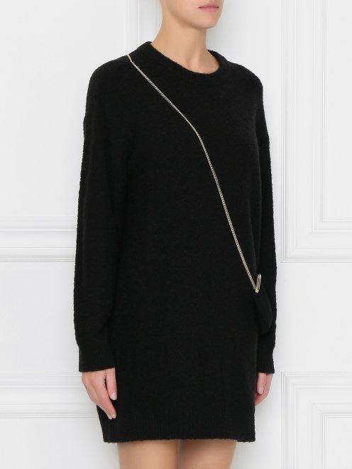 Платье трикотажное с декором  - МодельВерхНиз
