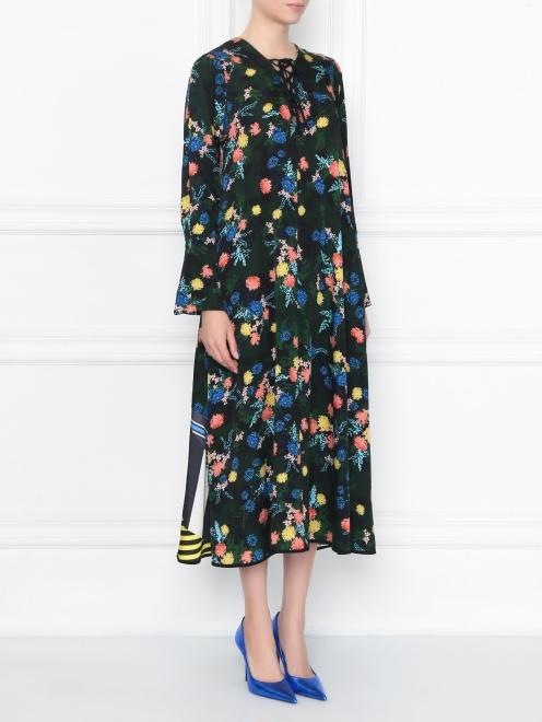 Платье из смешанного шелка с цветочным узором - МодельВерхНиз