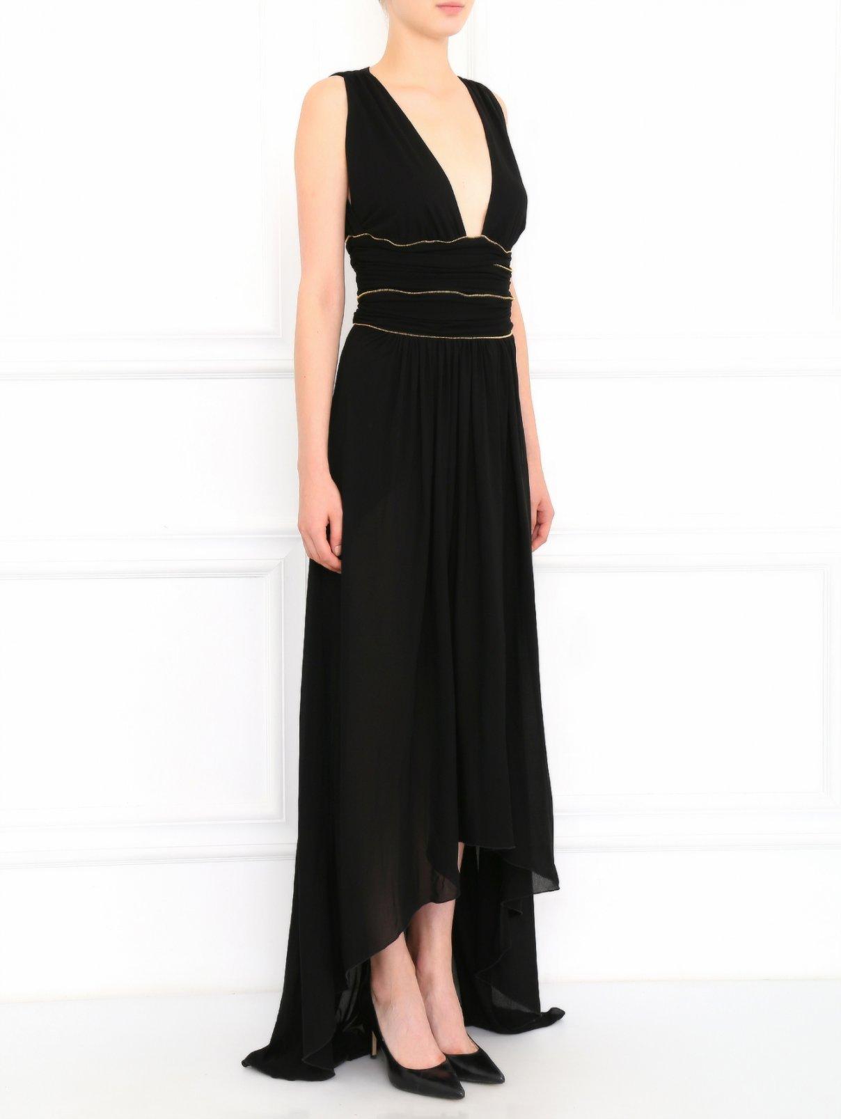 Платье-макси с драпировкой и металлической фурнитурой Versace Collection  –  Модель Общий вид