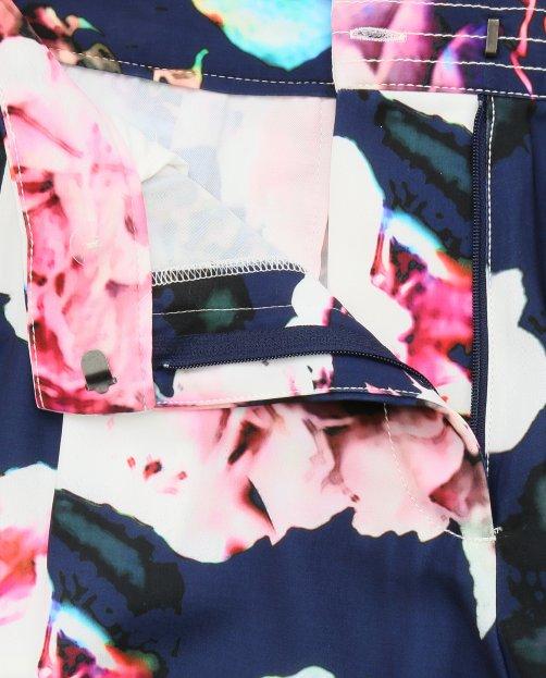 Брюки с цветочным узором и боковыми карманами - Общий вид