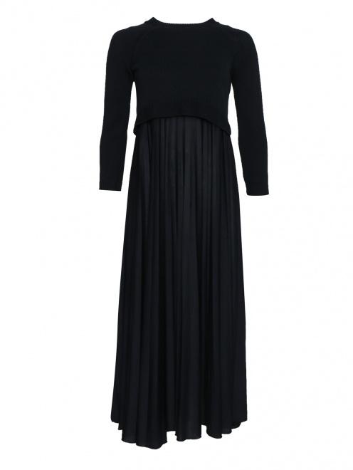Платье трикотажное из хлопка, с юбкой плиссе - Общий вид