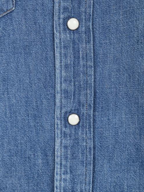 Блуза из денима с аппликацией из бисера  - Деталь