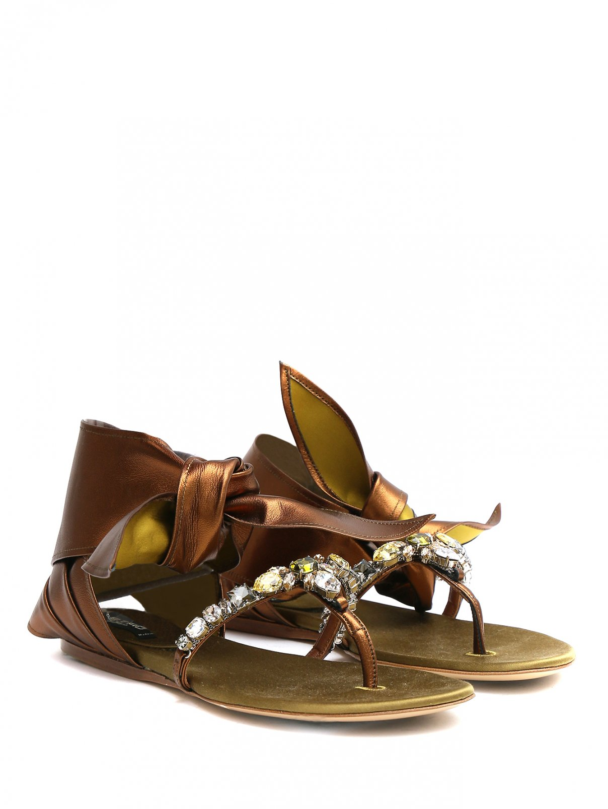 Сандалии из кожи металлик со стразами Etro  –  Общий вид  – Цвет:  Металлик
