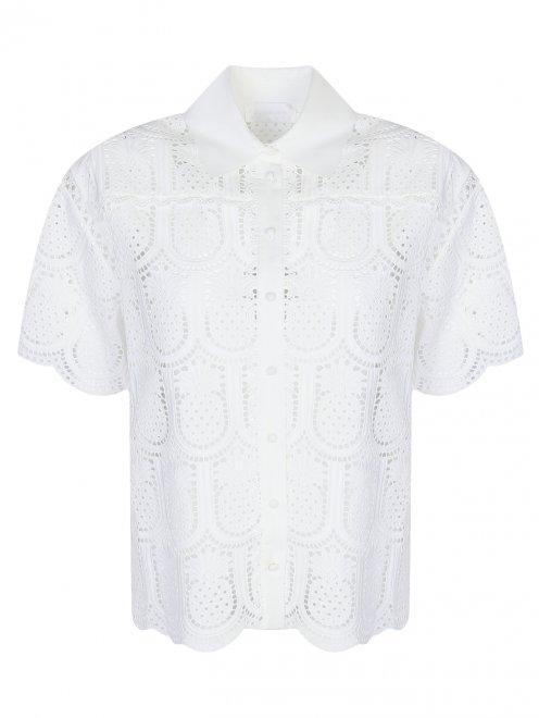 Блуза из хлопка с кружевным узором - Общий вид