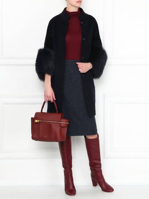 Пальто из шерсти с рукавами 3/4 - Общий вид
