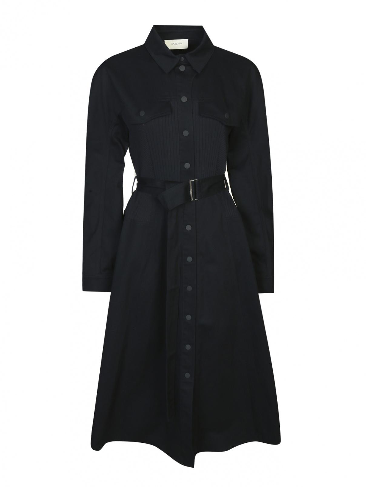Платье-миди из хлопка с поясом Sportmax  –  Общий вид