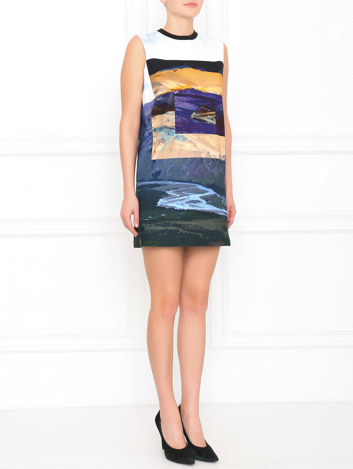 Платье из хлопка с узором Alexander McQueen  –  Модель Общий вид