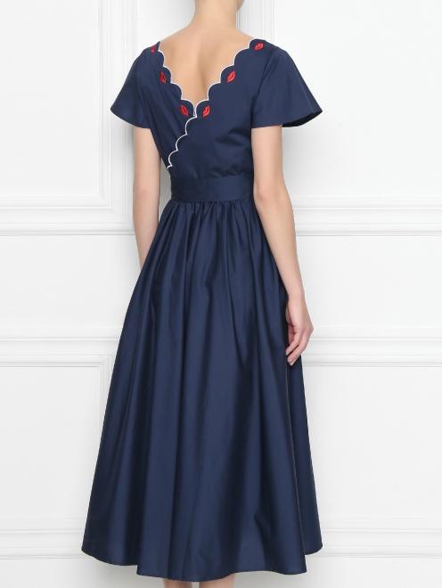 Платье из хлопка с расклешенной юбкой и вышивкой - МодельВерхНиз1
