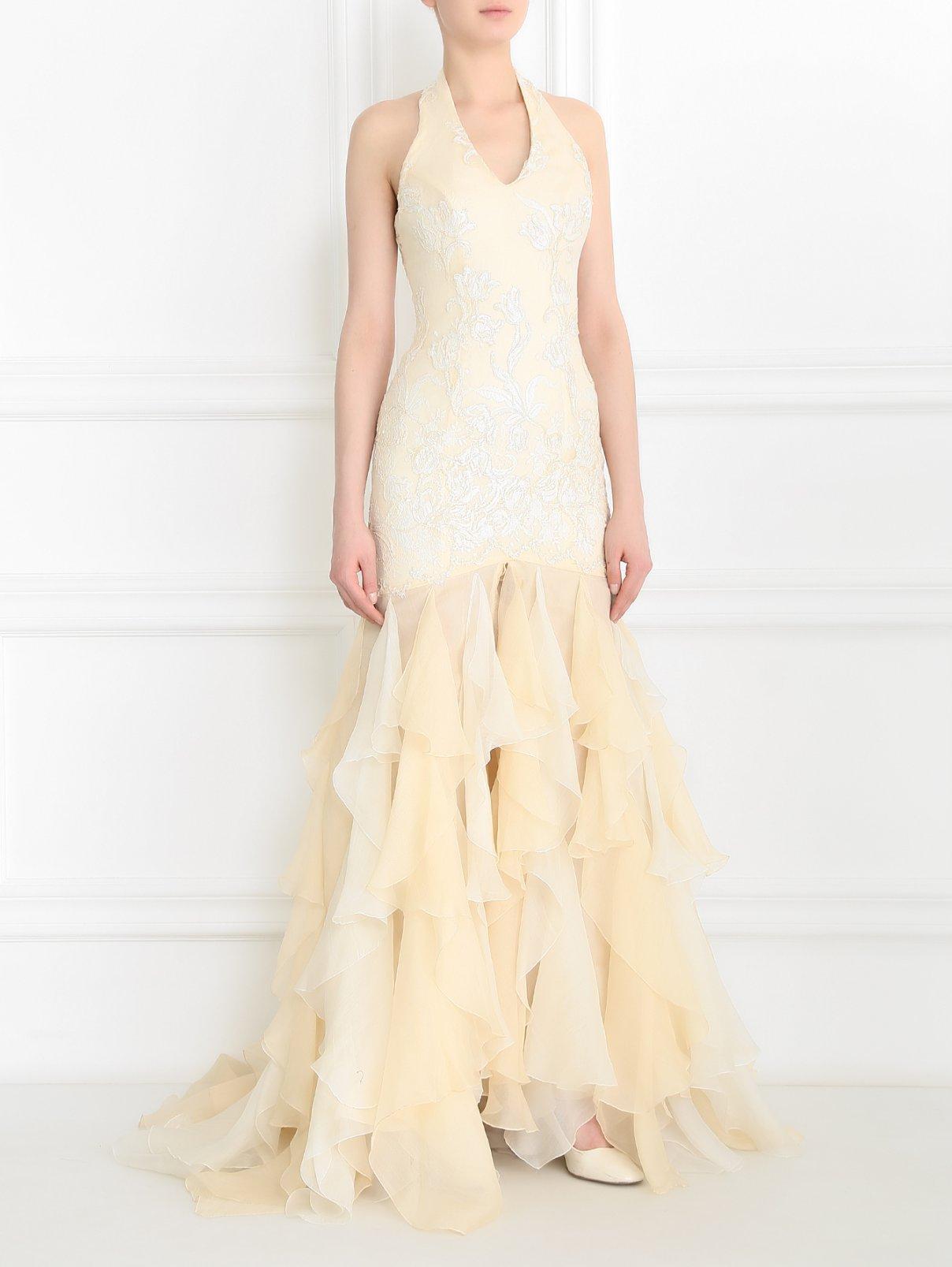 Платье-макси декорированное пайетками и оборками Mariella Burani  –  Модель Общий вид