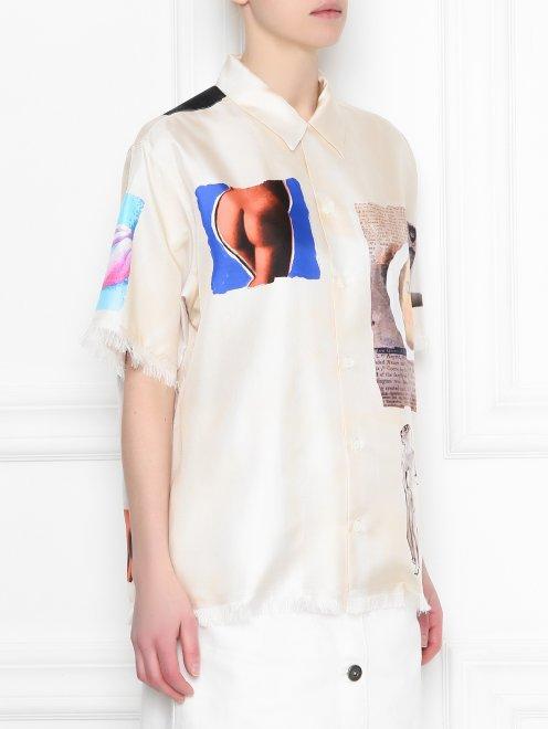 Рубашка из шелка с узором и короткими рукавами - МодельВерхНиз
