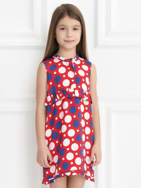 Платье из вискозы и шелка с узором - Модель Верх-Низ