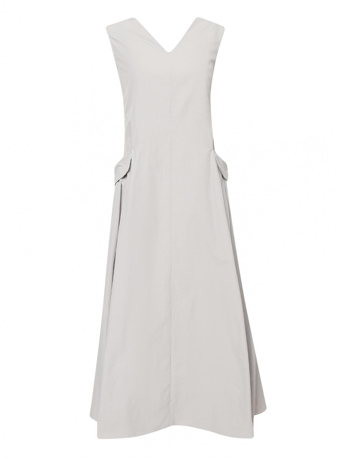 Платье-миди с боковыми карманами Max Mara  –  Общий вид  – Цвет:  Серый