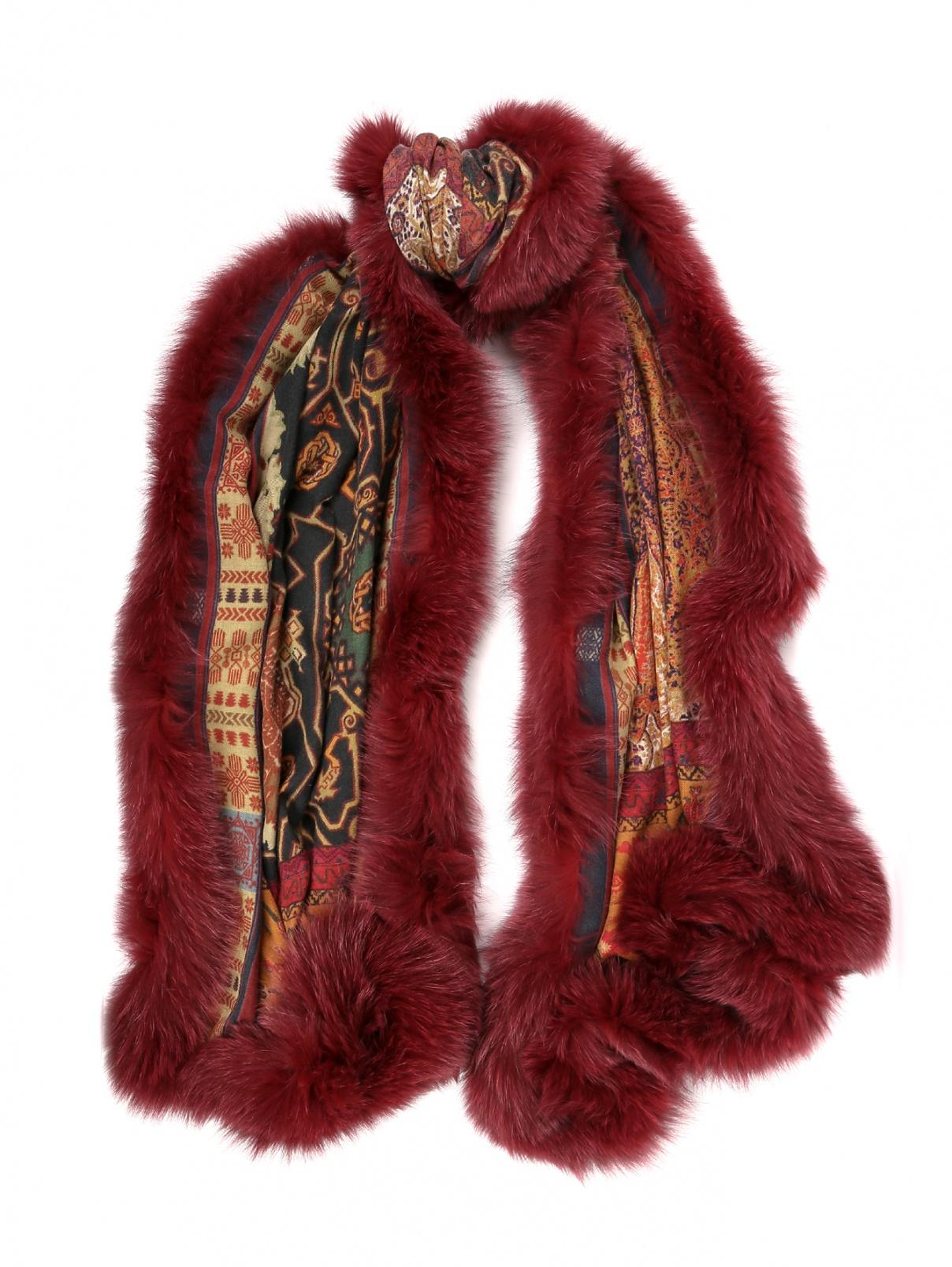 Шарф кашемировый с отделкой мехом лисы Etro  –  Общий вид  – Цвет:  Мультиколор