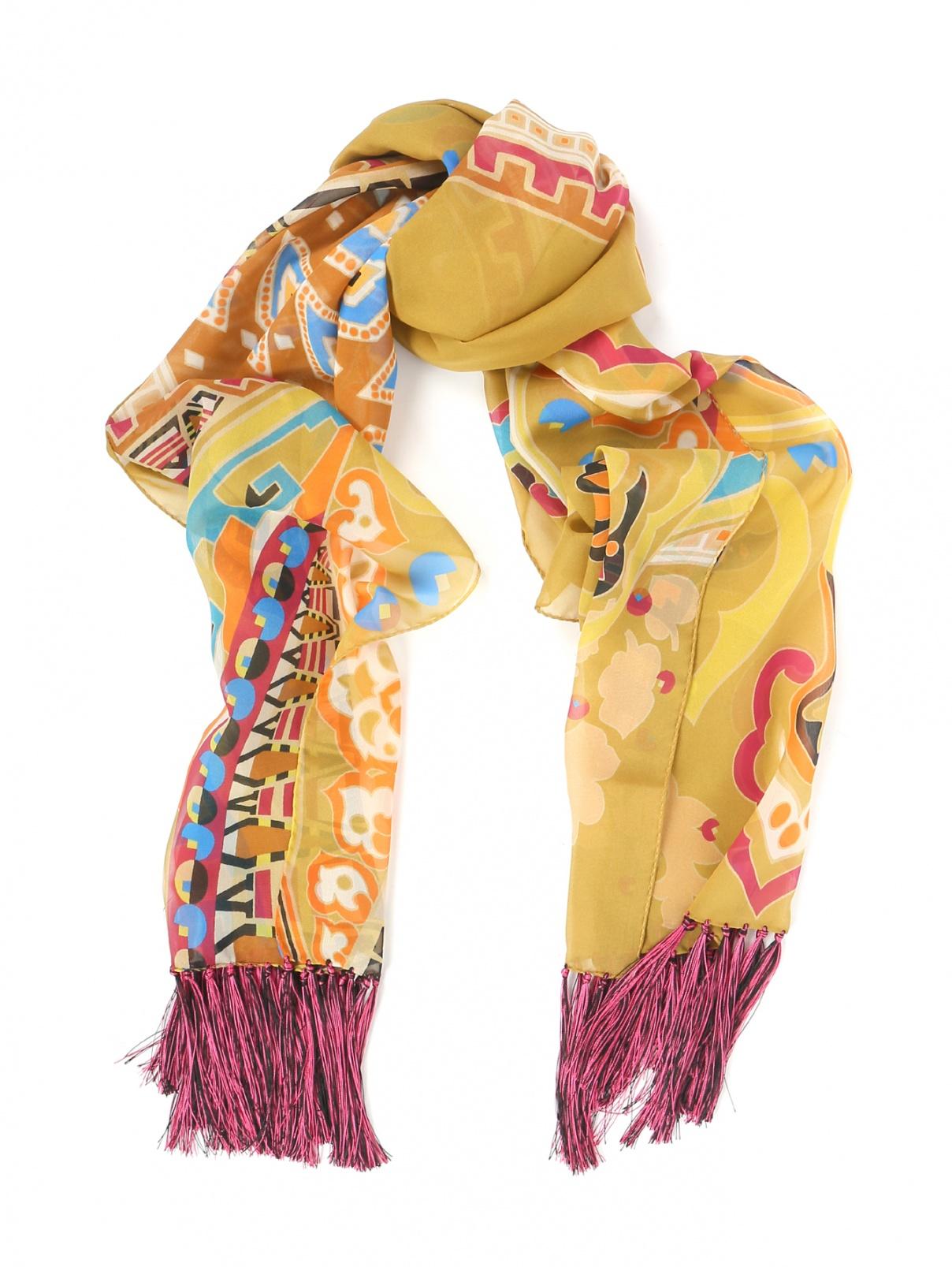 Шарф из шелка с бахрамой Etro  –  Общий вид  – Цвет:  Коричневый