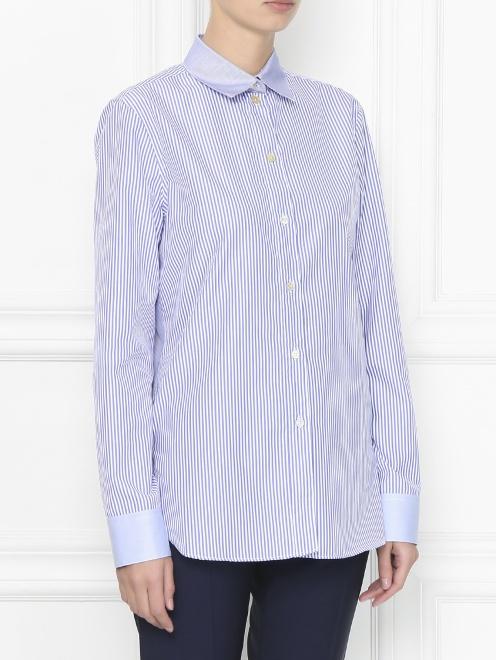 Рубашка из хлопка с узором полоска - МодельВерхНиз