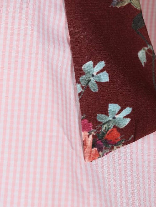 Блуза из хлопка и вискозы с контрастными вставками - Деталь