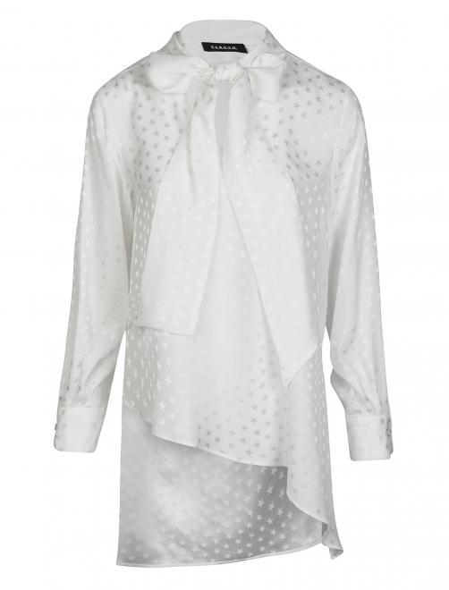 Блуза шелковая с узором звезды - Общий вид